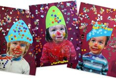 Print picture of kids and have them draw clown face and add hat. Circus Activities, Circus Crafts, Clown Cirque, Preschool Photography, Theme Carnaval, Vintage Birthday Parties, Clown Party, Wooly Hats, Kindergarten Art Projects