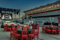 Caplan Miller Events utilized the infield of the Circuit of the Americas racetrack and several on-site garages for the bar mitzvah. A logo with a checkered flag and the teen's name appeared throughout the space. Photo: Jerry Hayes Photography