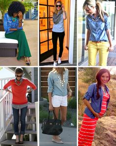 Denim Shirt Outfits for Spring. This is making me rethink the whole denim shirt style.