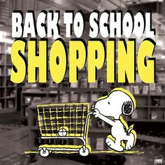 Image result for back to school shopping snoopy