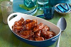 Saucy Slow-Cooker Party Wings Recipe - Kraft Recipes Baked 30 minutes then in crockpot with barbeque sauce, o.j. & honey 2 1/2 to 5 hours.