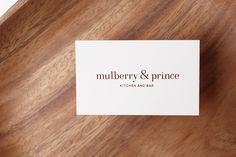 Mulberry & Prince Restaurant on Behance