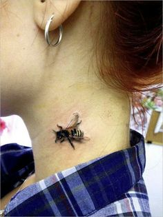 little bee in the neck tattoo more honey bee tattoo tattoo tattoos . Tattoos Motive, Bild Tattoos, Body Art Tattoos, New Tattoos, Friendship Symbol Tattoos, Tatoos, Bumble Bee Tattoo, Honey Bee Tattoo, Skull Tatto