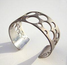 Sterling Silver Cuff Bracelet Sandblasted Geometric  by arosha
