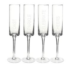 \'Wedding Party\' Contemporary Champagne Flutes (Set of - A set of modern, handblown glass champagne flutes are etched in honor of the bride, groom, maid of honor and best man. Champagne Party, Champagne Glasses, Old Fashioned Glass, Highball Glass, Wine Glass Set, Drinking Glass, Hand Blown Glass, Decoration, Cheers