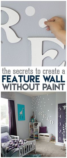 Did you know it was so easy to create a feature wall WITHOUT paint? I wish I would have seen this YEARS ago! This is such a simple way to make a statement in a room and such a simple DIY project idea for your home. Decorating Tips, Decorating Your Home, Hallway Decorating, Farmhouse Side Table, Wall Decor, Room Decor, Cute Dorm Rooms, Teen Girl Bedrooms, Girl Rooms