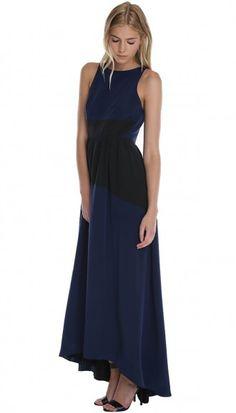 Color Block Silk Long Dress
