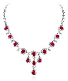 Cellini Jewelers stunning ruby and diamond necklace Ruby And Diamond Necklace, Ruby Necklace, Emerald Jewelry, Diamond Pendant Necklace, Ruby Bracelet, Diamond Jewelry, Necklace Designs, Luxury Jewelry, Beautiful Necklaces