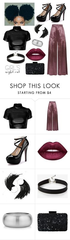 """GIRLS NIGHT OUT"" by uniquepineapple ❤ liked on Polyvore featuring Temperley London, Lime Crime, Express and Oscar de la Renta"