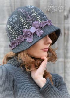 Winter Fern Wool Cloche Hat by Jaya Lee Designs  #woolhat #winterhat #hat #cloche #handembroidery