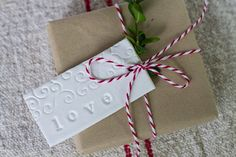"""Image of Set of 2 Handmade Clay Tags stamped with """"love"""""""