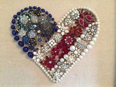 Framed Vintage Jewelry Patriotic Heart (12x15) by KajaVintageCreations on Etsy https://www.etsy.com/listing/232363395/framed-vintage-jewelry-patriotic-heart