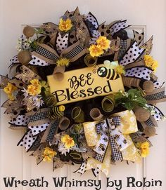 """Spring Summer Deco Mesh Bumblebee Wreath with Handmade Wood """"Bee Blessed"""" Sign, Front Door Wreath, Yellow Black Wreath, Bee Wreath by WreathWhimsybyRobin on Etsy"""