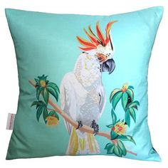 Cockatoo Scatter Cushion Chloe Croft London Size: 48 x Colour: Blue