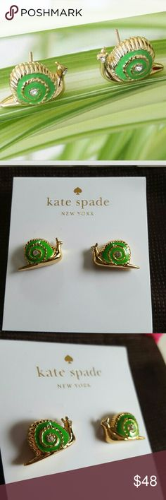 """Kate Spade Snail Earrings These lovely earrings are from Kate Spade and they are lovely garden party snail earrings! These are lovely detailed swirled shell with glass crystals for eyes and cute little antenna. These dainty sparklers are a clever visual reminder to slow down (to a snail's pace) when you're moving too fast. 14-karat gold filled post Gold-plated brass Enamel and Glass Post back.Width: .75"""" Height: .5"""" Brand new and includes dust bag! Great with your favorite shirt and jeans…"""