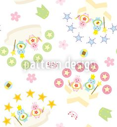King And Queen Penguins - Blue and pink penguins with magic wand and all over flowers, stars and crowns. Cute childish colors on white background. Starter Set, Vector Pattern, Vector File, Surface Design, Wands, Penguins, Baby Shower, Queen, Crowns