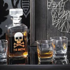 The only way to properly secure your spirits and secret potions is within our Personalized Skull  Crossbones Decanter. Any unsavory characters lurking    around will clearly see your name is written all over it. Whether you're a saber-wielding pirate, or just a hospitable Halloween host, this glass decanter    raises the fun factor of any occasion. Classic skull and crossbones design is engraved on a square, heavy-based decanter, with secure stopper. Your    personalized saying or nam...