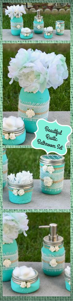 My turquoise obsessed girlfriends will LOVE these mason jar sets!!! I can't wait to see their faces! #masonjardecor #turquoise #rusticdecor #rustichomedecor #rustic #decor #affiliate #giftideas