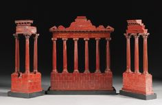 A matching group of three Rosso Antico `Grand Tour' marble models of ruins, Italian 19th century - Sotheby's