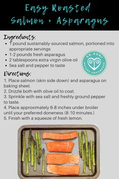 Need Here's one of my go-to meals for quick, easy and healthy no matter how crazy the day gets. You can also substitute the veggies for anything you already have in your fridge, making it versatile and customizable to fit your family's preferences Clean Foods, Clean Recipes, Cooking Recipes, Salmon And Asparagus, Roasted Salmon, Salmon Skin, Nutritious Meals, Veggies, Dinner