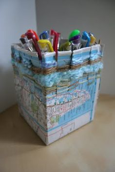 Pink and Green Mama: weaving a pencil holder cup or box