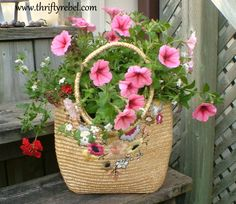 Turn a Purse Into a Planter - $1 thrift store purse, add 2 inches of pea gravel for drainage & balance, then soil & plants. Darling!