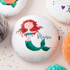 A personalised mermaid cushion by Tillyanna. The perfect gift for your very own little mermaid. The perfect gift from Tillyanna Designs, this cushion makes an ideal wedding present for the special c. Timeless Classic, Timeless Design, Copper Home Accessories, Behr Colors, Christening Gifts, Corporate Gifts, Gifts For Father, The Little Mermaid, Kids Room