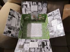 Anniversary care package - What a great idea to decorate the inside of the box with photos and scrapbook pieces.  Military spouses can be so creative! - MilitaryAvenue.com