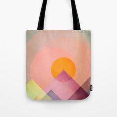 "Our quality crafted Tote Bags are hand sewn in America using durable, yet lightweight, poly poplin fabric. Available in 13"" x 13"", 16"" x 16"" and 18"" x 18"" variations, the tote bags are washable, feature original artwork on both sides and a sturdy 1"" wide cotton webbing strap for comfortably carrying over your shoulder.  #totebag #bag #mountains #sun  #sensations #emotions #abstract #textures #bright #colors #contrast #deco #decor #homedecor #shapes #harmony #overlap"