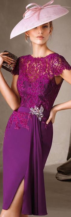 Pronovias 2017 purple lace dress  women fashion outfit clothing style apparel @roressclothes closet ideas