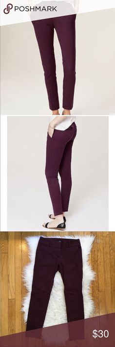 LOFT Skinny Marisa Pant Skinny ankle pants in Marisa fit. Brand new with tags, have never been worn! Plum / wine color. Reasonable offers will be considered for this item, understanding that the pants are brand new and in perfect condition! LOFT Pants Skinny