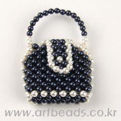 Beaded black & white tiny Purse - 1