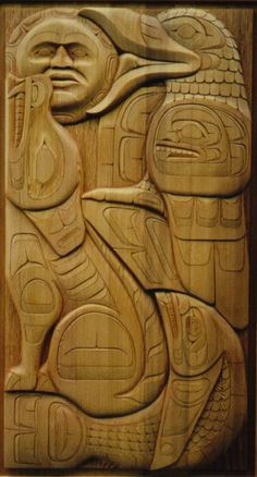Beautiful wood carvings for my home. I want the table with the wild salmon. Native Wood Art -- Door Closeup 02