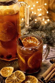 Christmas hot mulled red wine or grog with spices and fruits on a wooden rustic table with spruce branches and lighters on background. Traditional hot drink at Cozy Christmas, Christmas Colors, Christmas Time, Holiday, Xmas, Jus Detox, Sweet Wine, Mulled Wine, Bakery Recipes