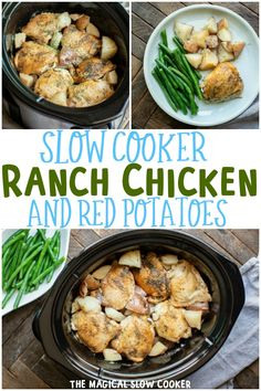Slow Cooker Ranch Chicken with Red Potatoes Slow Cooker Huhn, Crock Pot Slow Cooker, Slow Cooker Recipes, Cooking Recipes, Crockpot Dishes, Healthy Crockpot Recipes, Crockpot Meals, Vegan Recipes, Roast Recipes