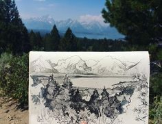 An unfinished drawing I did on top of Signal Mountain Peak in the Grand Tetons  A picture of the finished drawing will be up soon!