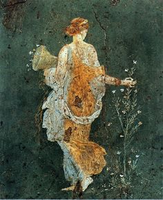 theundiscoveredcontinent:  Flora, woman picking flowers with a cornucopia - Pompeii