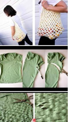 How to Make a No Sew T-Shirt Tote Bag in 10 Upcycled and Refashioned TShirt DIY Tutorials .Recycled T-shirt DIY bag Simple Cheap creative clever idea Diy Bags Easy, Simple Bags, Easy Diy, Recycled T Shirts, Old T Shirts, Sewing Crafts, Sewing Projects, Diy Crafts, Upcycling