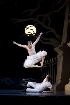 Richard Winsor (mid-jump) and Christopher Marney in Matthew Bourne's Swan Lake.  Photo (c) Bill Cooper.