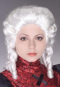 Take it back to the times of Martha Washington and Mercy Warren when you wear this White Colonial Women's Wig. This wig is white and features tight curls. Wear this wig with colonial and pilgrim costumes to complete a great ensemble. Disney Costumes, Halloween Costumes, Santa Suits, Period Costumes, Womens Wigs, Human Hair Wigs, Wig Hairstyles, Hats For Women, Colonial