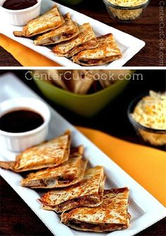 Cool RANCH and tangy BBQ sauce compliment cajun CHICKEN just perfectly on these QUESADILLAS!