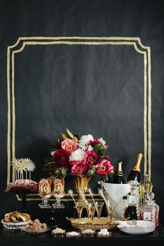 Decorating, Wonderful Black White Golden New Years Eve Party Decorations Ideas Console Table Chalkboard Party Table Decoration ~ Brilliant New Years Eve Party Decorations Ideas Saving Your Budget Efficiently