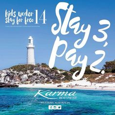 Need to get away for the upcoming school holidays? This weather is tempting you for an island escape and no further than 25 minutes from Fremantle is Karma Rottnest offering a true get-away for you and your family. Come and stay with us enjoy poolside cocktails sumptuous food from Riva and a massage from Karma Spa....all a short ferry ride away!  Yes there are a few conditions such as - this offer is subject to availability - kids under 14 stay for free - existing bedding configuration…