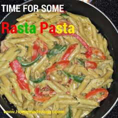 An easy recipe for making the delicious rasta pasta dish of a creamy jerk sauce smothering penne pasta, bell peppers and your choice of meat