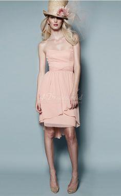 A-line Strapless Chiffon Short/Mini Pink Bridesmaid Dresses(BD156)