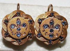 ANTIQUE VICTORIAN FRENCH 18K GOLD SAPPHIRE LOVE KNOT FLEUR DE LIS EARRINGS c1880  | eBay