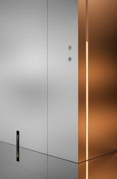 时代中国 企业展馆 Times China Enterprise Exhibition Pavilion on Behance Lift Design, Wall Design, House Design, Elevator Design, Lobby Design, Steel Art, Media Wall, Interior Stairs, Exhibition Space