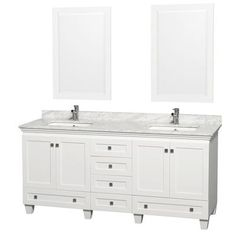 white vanity double sink. Wyndham Collection Acclaim 72 Inch Double Bathroom Vanity in White  Carrera Marble Countertop Undermount Square Sink and 24 Mirror Chandler by Mission Hills remodel
