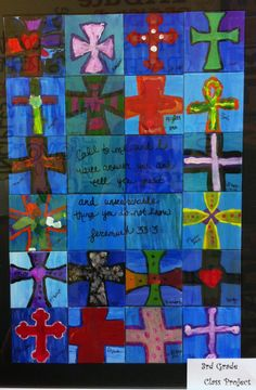 for Wyatt's 3rd grade class project to be used for auction at the Festival of Tables.  Each child in the class painted their own cross on their own canvas.  Love how it came together.  Jeremiah 33:3