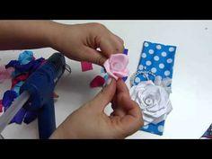 Como elaborar Flores en cinta gros grandes para decorar balacas . - YouTube